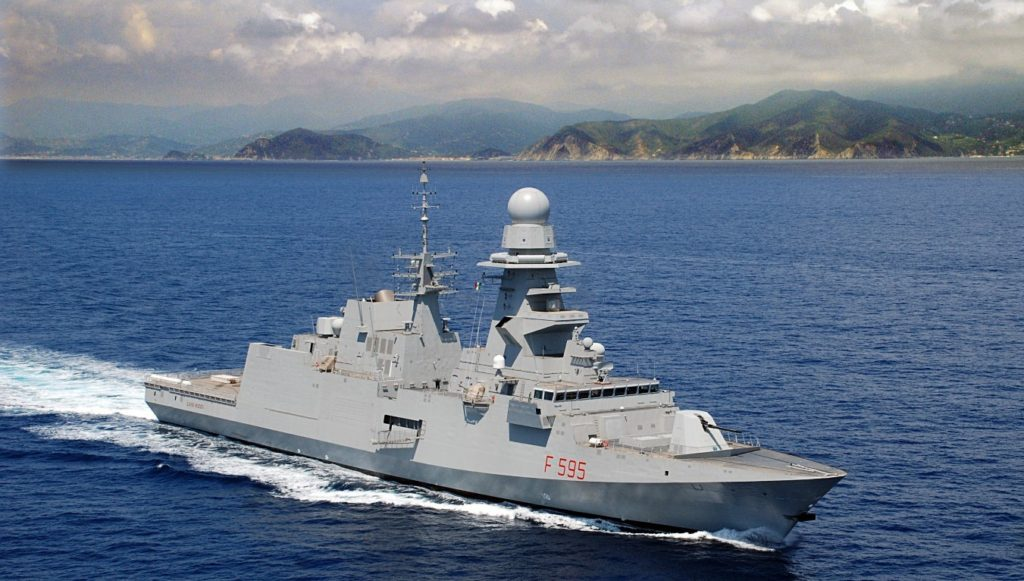 The Italian Navy's sixth FREMM-class frigate, ITS Luigi Rizzo, sails from Fincantieri's Muggiano shipyard on her initial sea trials (IT Navy photo)