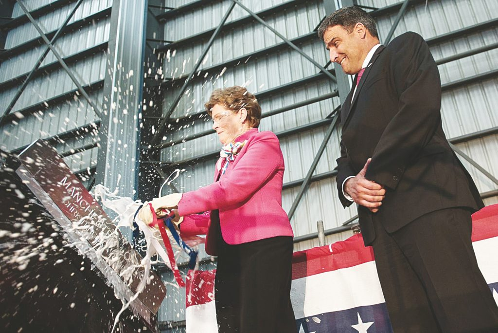 Senator Jeanne Shaheen, Democrat Party-New Hampshire, christens the Navy combat ship USS Manchester on May 07 at the Austal USA shipyard in Mobile, Alabama