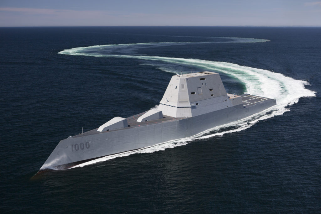 The future guided-missile destroyer USS Zumwalt (DDG-1000) transits the Atlantic Ocean during acceptance trials April 21, 2016 with the Navy's Board of Inspection and Survey (INSURV) (U.S. Navy/Released)
