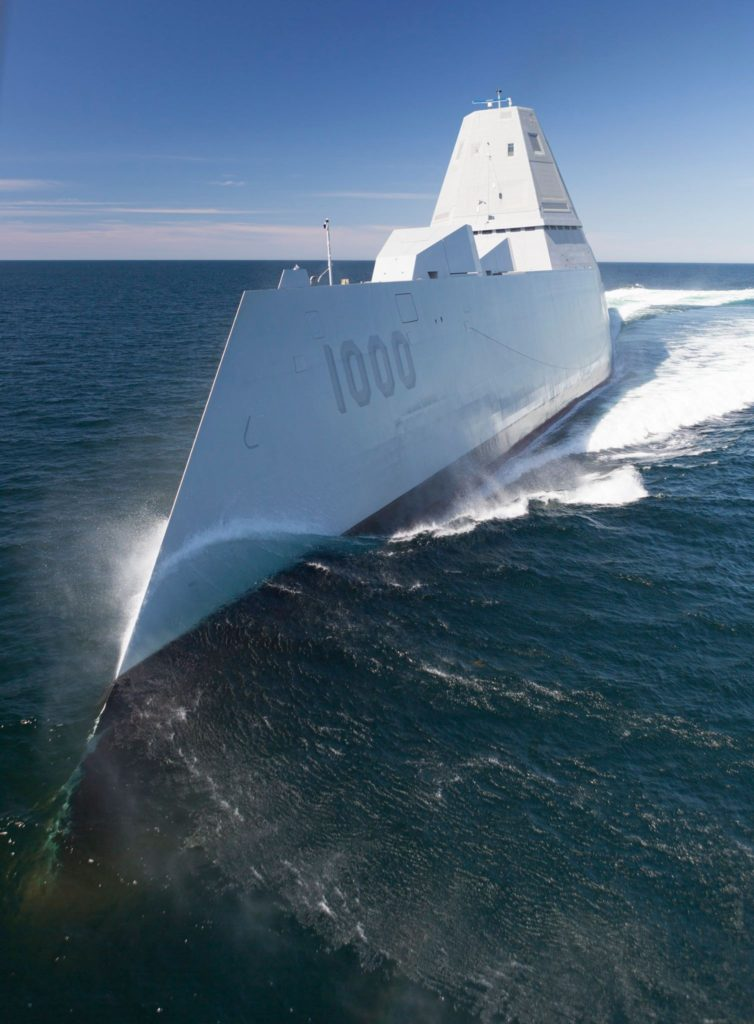 DDG-1000 is the lead ship of the Zumwalt-class destroyers, next-generation, multi-mission surface combatants, tailored for land attack and littoral dominance (U.S. Navy/Released)
