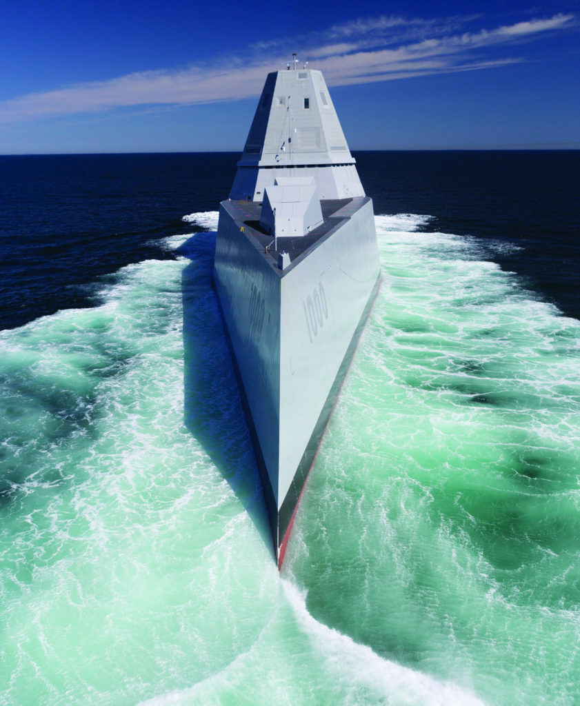 The U.S. Navy accepted delivery of DDG-1000, the future guided-missile destroyer USS Zumwalt (DDG-1000) (U.S. Navy/Released)