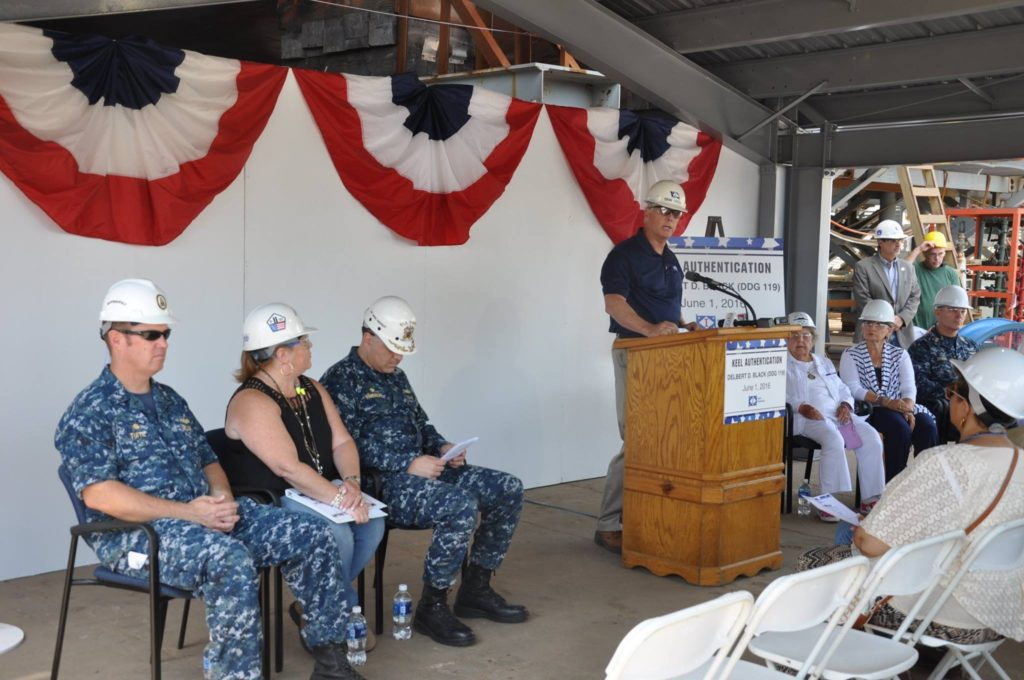 USS Delbert D. Black (DDG-119) keel authentication ceremony