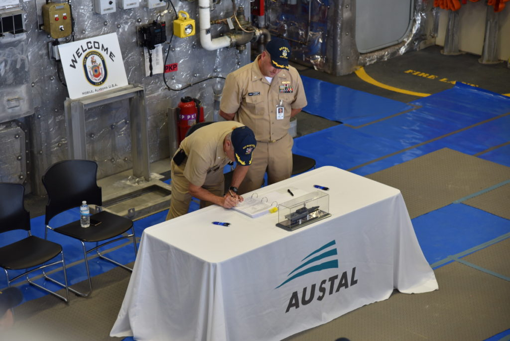 Austal Chief Executive Officer David Singleton said this is the second vessel that Austal has delivered as the prime contractor and is testament to a lot of hard work in preparing the ship to the shock requirements