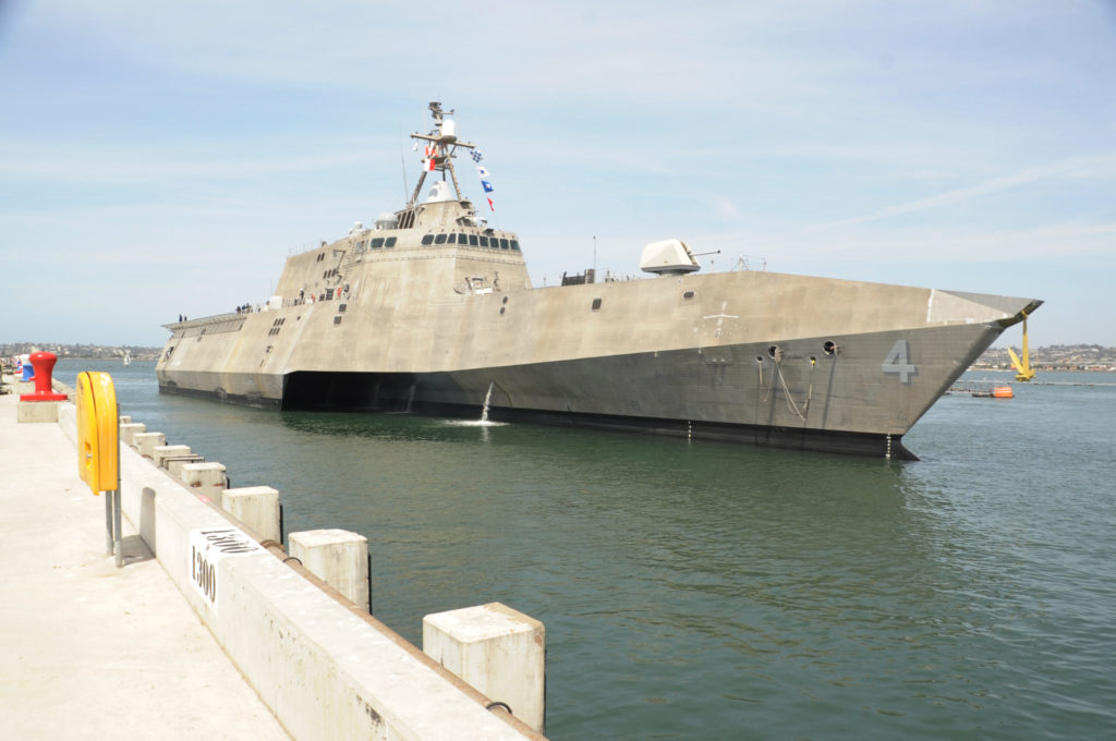 The Navy's newest littoral combat ship USS Coronado (LCS-4) arrives at Naval Air Station North Island in preparation for its commissioning ceremony