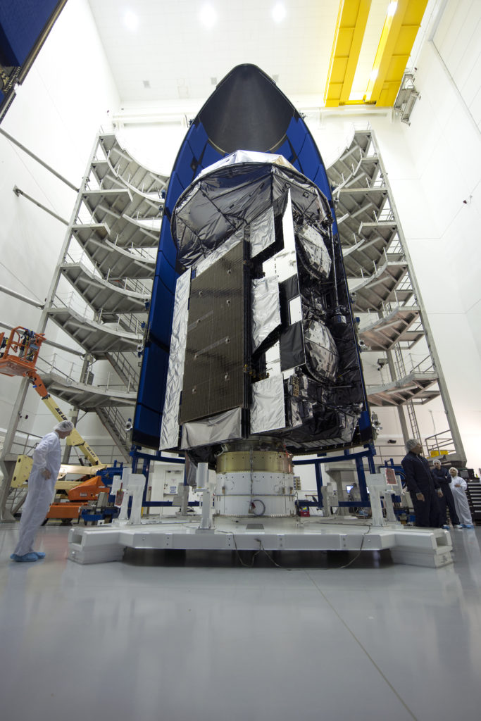 The Navy's fifth Mobile User Objective System (MUOS) is encapsulated inside an Atlas V five-meter diameter payload fairing