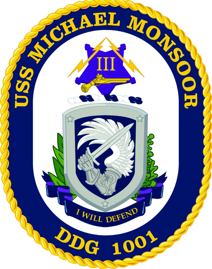 The emblem of the USS Michael Monsoor (DDG-1001)
