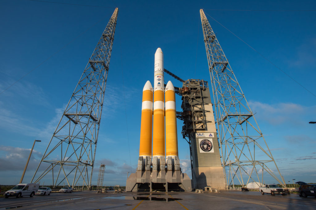The Mobile Service Tower at Space Launch Complex-37 is rolled back in preparation for launch of the NROL-37 mission on a Delta IV Heavy rocket