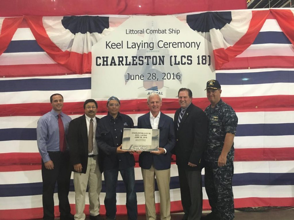 The U.S. Navy laid the keel for the nation's 18th littoral combat ship, the USS Charleston (LCS-18), at Austal's shipyard in Alabama, USA