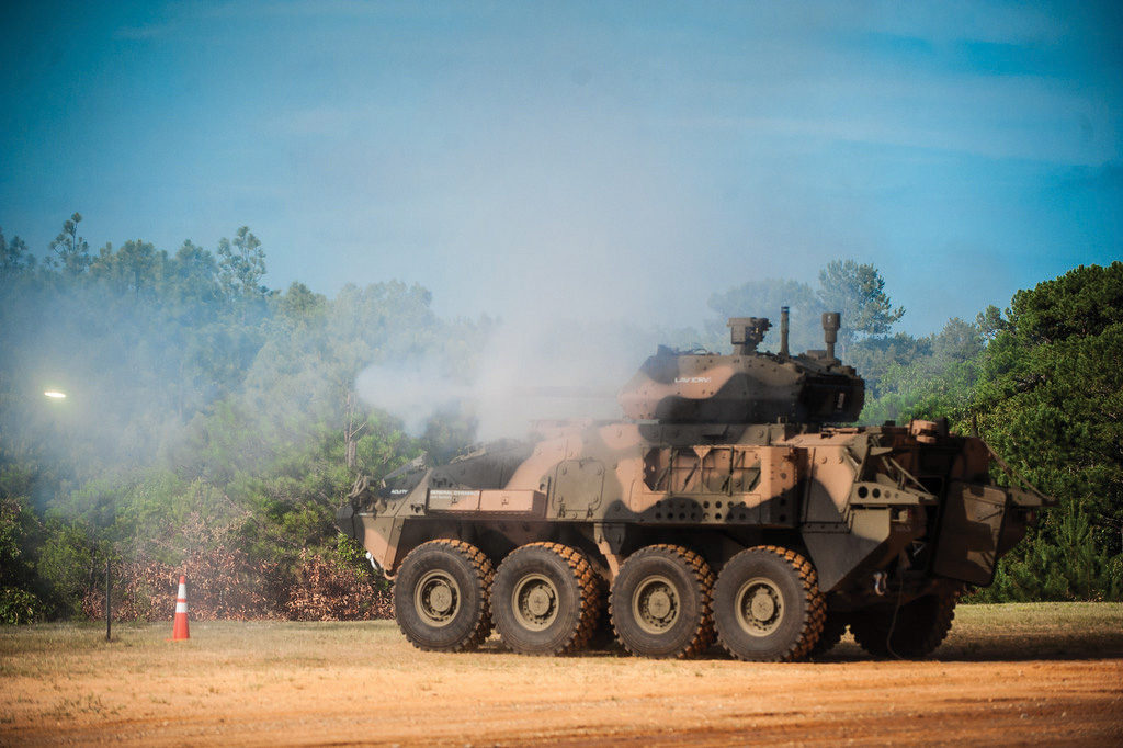 The ground mobility vehicle 1.1 prototype fires the M230-LF 30-mm cannon during a live fire demonstration on Friday, July 15, at Red Cloud Range on Fort Benning (Photo Credit: Patrick A. Albright)