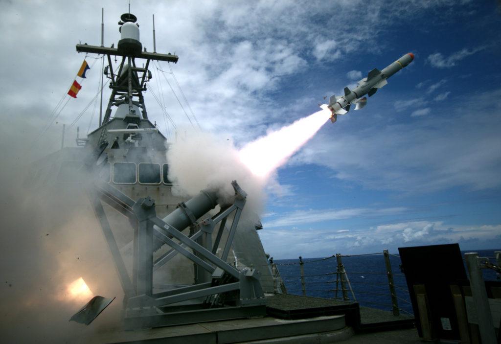 USS Coronado (LCS-4), an Independence-variant littoral combat ship, launches the first over-the-horizon missile engagement using a Harpoon Block 1C missile (U.S. Navy photo by Lieutenant Bryce Hadley/Released)