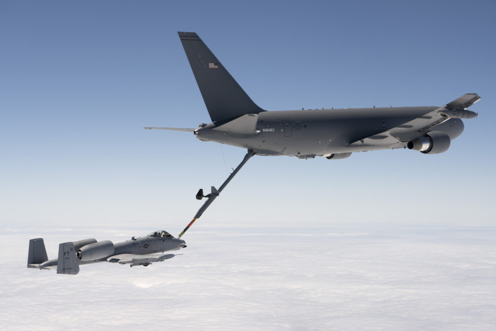 A KC-46 Pegasus refuels an A-10 Thunderbolt II with 1,500 pounds/680 kg of fuel July 15, 2016 (Boeing photo/John D. Parker)