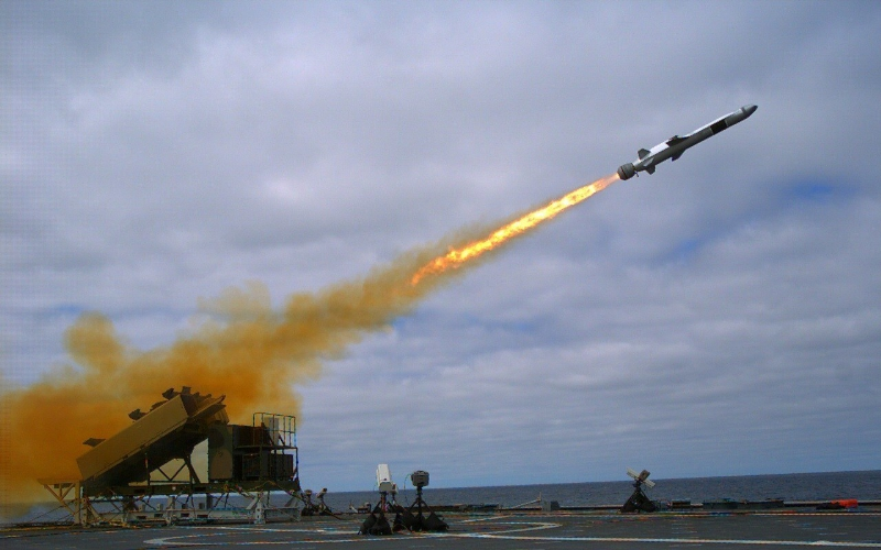 A Naval Strike Missile (NSM) is launched from the Littoral Combat Ship USS Coronado (LCS-4) during a September 23, 2014, test off the coast of Southern California (US Navy photo)