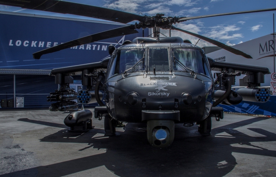 Lockheed Martin unveiled a European-built Sikorsky Black Hawk helicopter at the Farnborough International Airshow