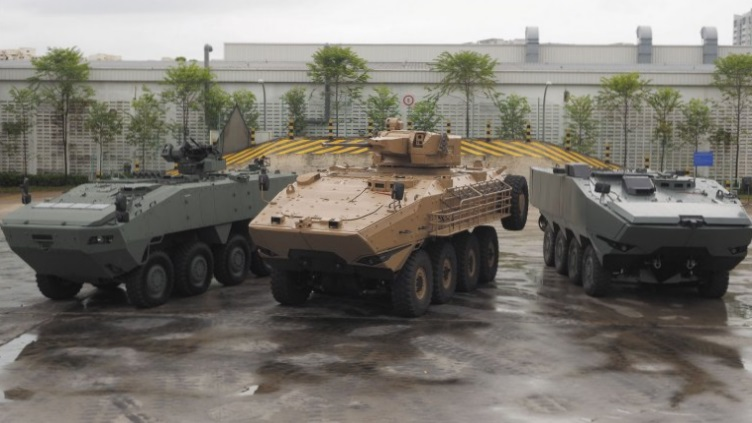 All three members of the ST Kinetics 8×8 Terrex armoured vehicle family pictured together for the very first time. From left: the 24-tonne Terrex 1 which is in service with the Singapore Army; the 35-tonne Australian Land 400 Phase 2 contender Terrex 3/Sentinel II; and the 30-tonne Terrex 2 that has been optimised for amphibious operations, one of the two finalists downselected for the US Marine Corps ACV 1.1 programme