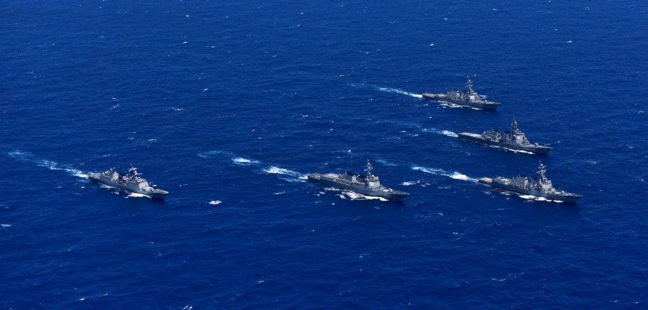 Aegis ships USS John Paul Jones (DDG-53), USS Shoup (DDG-86), Japan's Chokai (DDG-176), the Republic of Korea's Sejung The Great (DDG-991) and Gang Gam Chan (DDH-979) steam in formation during exercise Pacific Dragon 2016 in June (U.S. Navy photo by Mass Communication Specialist 3rd Class Holly L. Herline/Released)
