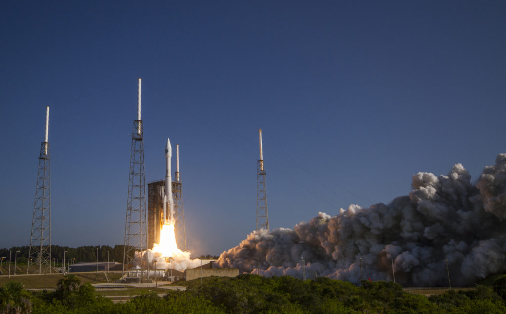 A United Launch Alliance Atlas V rocket carrying NROL-61 lifts off from Space Launch Complex-41