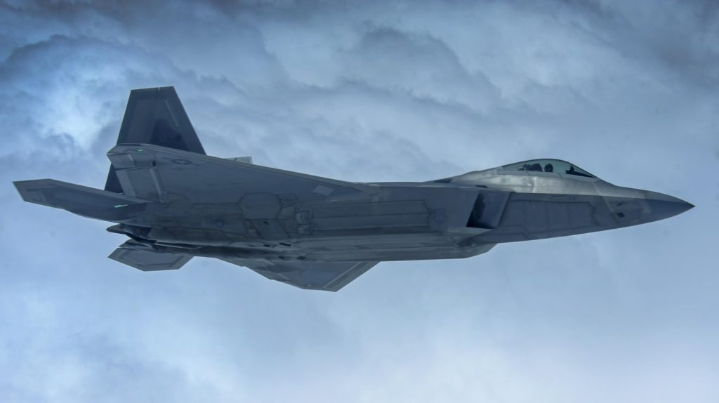 An F-22A Raptor, assigned to the 27th Fighter Squadron at Joint Base Langley-Eustis