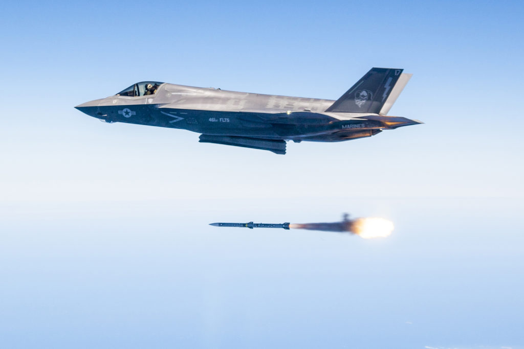 Major Douglas Rosenstock fires an AIM-120 AMRAAM from an F-35 Lightning II during a recent weapons test surge at Edwards Air Force Base, California. By the end of the surge the F-35 Integrated Test Team released 30 weapons in 31 days, a first in flight testing (Lockheed Martin photo/Darrin Russel)