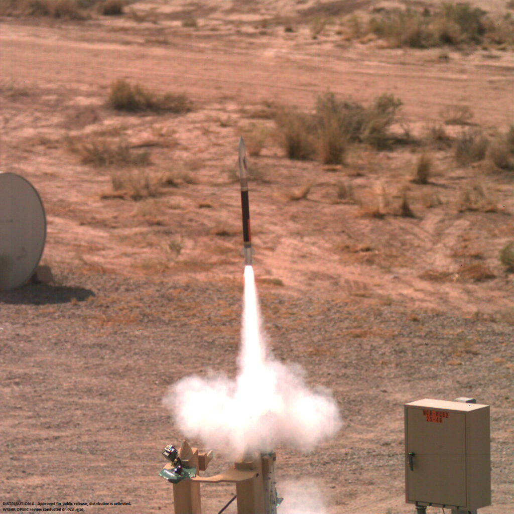 A Lockheed Martin Miniature Hit-to-Kill missile streaks skyward during a successful flight test on July 29
