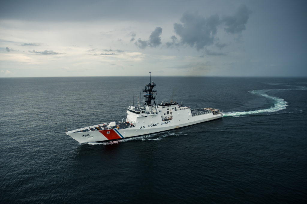 Munro, the sixth U.S. Coast Guard National Security Cutter (NSC) built at Ingalls Shipbuilding, spent three days in the Gulf of Mexico testing all of the ship's systems (Photo by Lance Davis/HII)