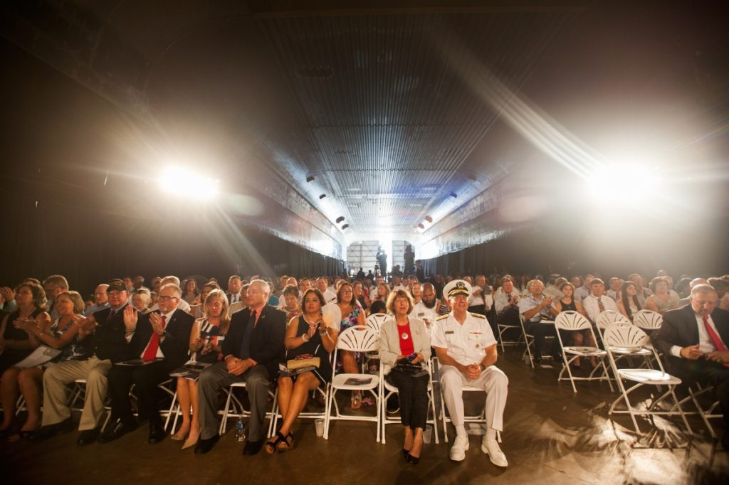 Guests gathered to attend the christening of USNS Yuma (T-EPF-8) (Photo: Austal USA)