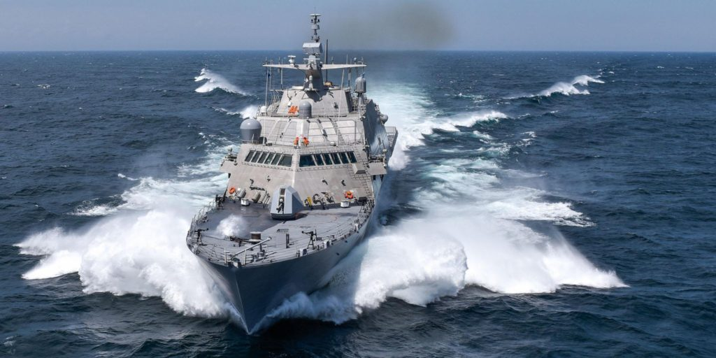 The future USS Detroit, the fourth Freedom-variant Littoral Combat Ship delivered to the U.S. Navy, underway during Acceptance Trials on July 13, 2016
