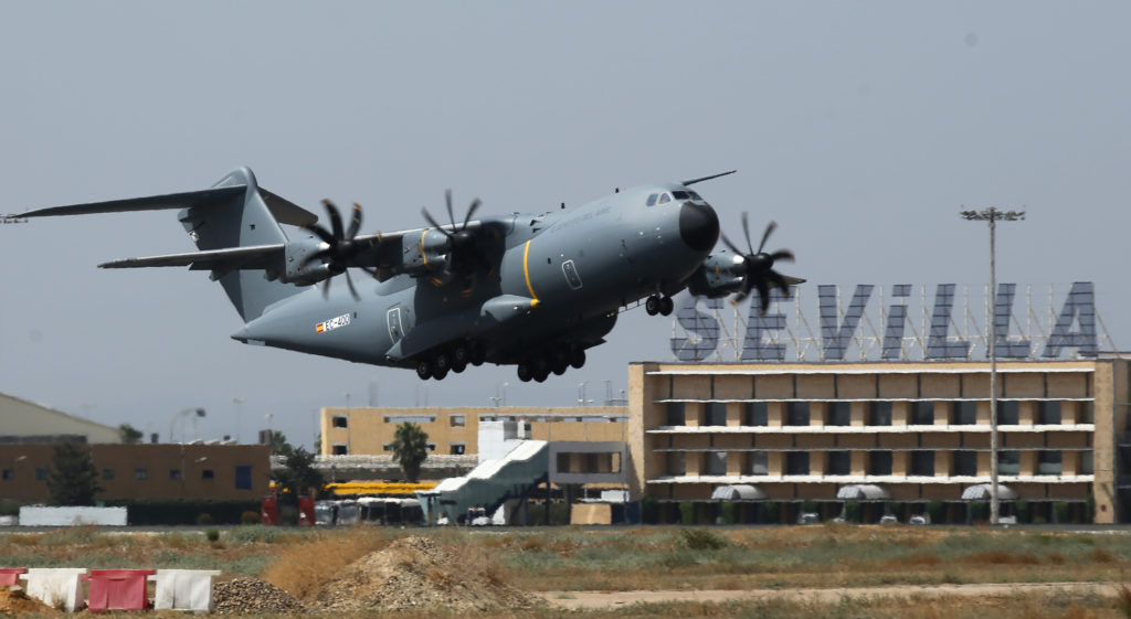 The first Airbus A400M for the Spanish air force made its maiden flight on September 5 as scheduled. Airbus is committed to delivering it in September (Airbus photo)