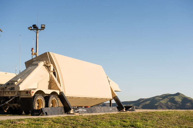 A critical element in the ballistic missile defense system, Raytheon's AN/TPY-2 continually searches the sky for ballistic missiles (PRNewsFoto/Raytheon Company)