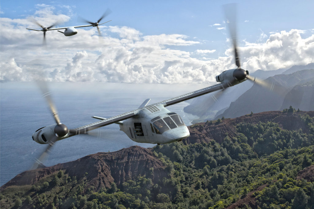 The Bell V-247 Vigilant can accompany any asset into contested territory, providing protection, early warning, or interdiction. Autonomous flight capability provides added flexibility to the escorted crew chief, allowing for the re-tasking of ISR sensors