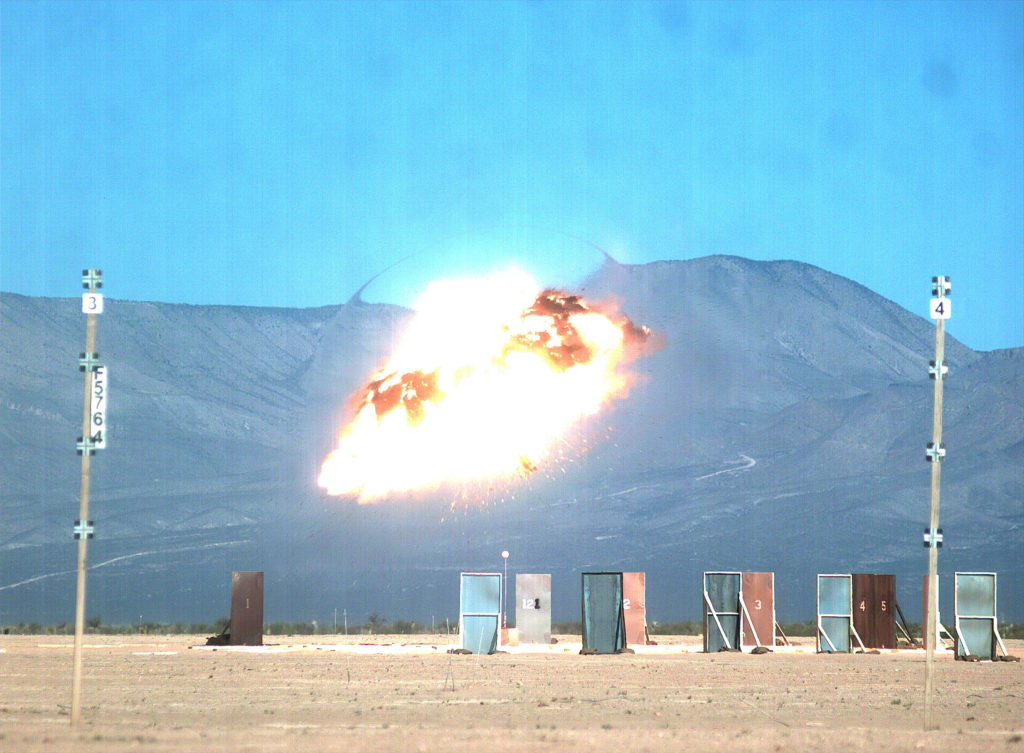 A Lockheed Martin GMLRS Alternative Warhead detonates at the target during a test flight at White Sands Missile Range, New Mexico