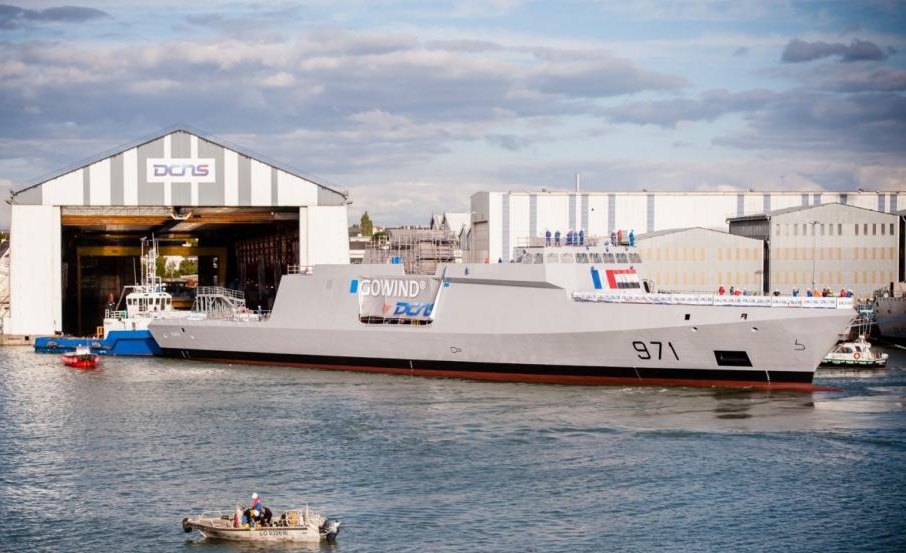 Elfateh, the first of four Gowind corvettes on order for the Egyptian Navy, is floated out at the Lorient, Brittany shipyard of DCNS. This is the first vessel of this new design to be built (DCNS photo)
