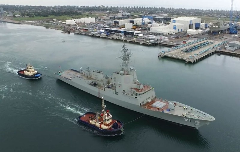 Hobart, the first of Australia's three new Air Warfare Destroyers, left the shipyard to begin her initial Builder Sea Trials. The second ship is due to be launched in December, and the third is about half-built (AWDA photo)