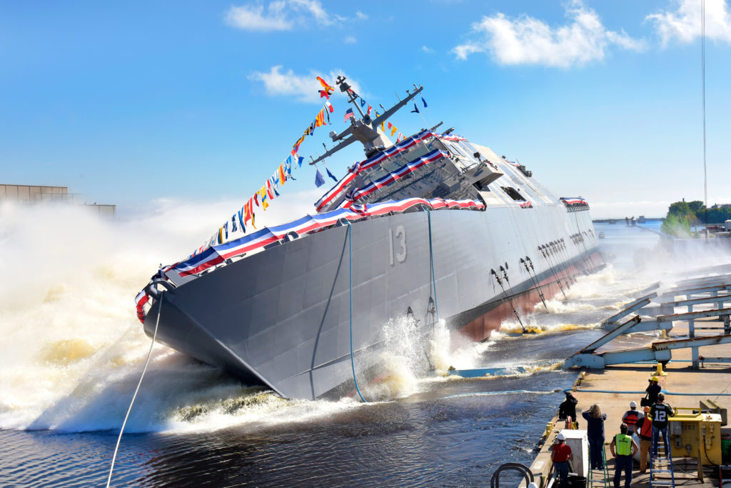 The 13th Littoral Combat Ship, the future USS Wichita, launches sideways into the Menominee River in Marinette, Wisconsin on September 17. Once commissioned, LCS-13 will be the third ship to carry the name of Wichita, Kansas