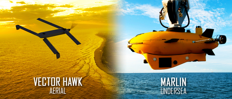 Lockheed Martin successfully launched Vector Hawk (left), a small UAV on command from the Marlin MK2 AUV (at right) during a cross-domain command and control event hosted by the U.S. Navy (Image courtesy Lockheed Martin)