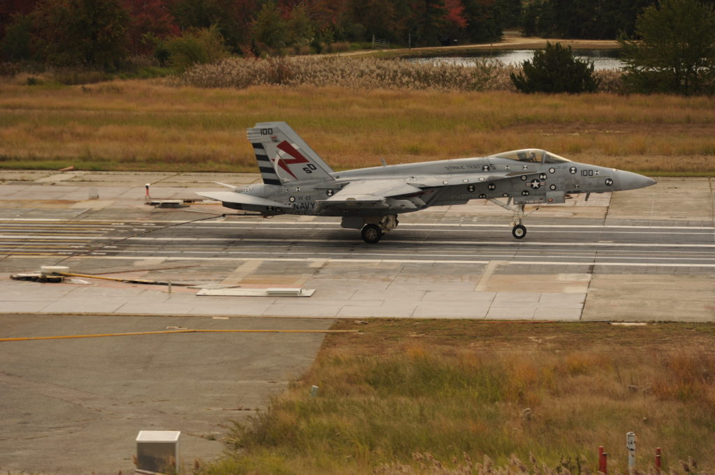 Advanced Arresting Gear (AAG) completes a first-of-its-kind recovery of an Air Test and Evaluation Squadron (VX) 23-assigned F/A-18E Super Hornet at the Runway Arrested Landing Site in Lakehurst, New Jersey, October 13 (U.S. Navy photo)