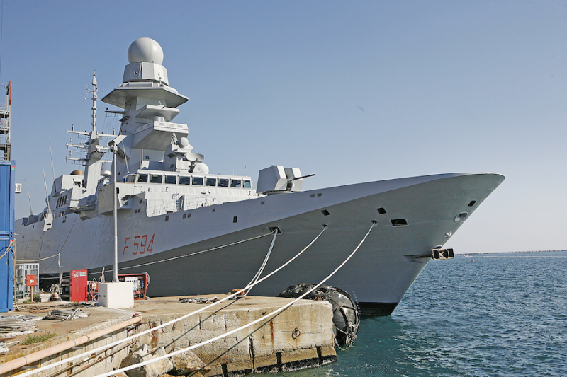 Alpino (F594), the latest FREMM multipurpose frigate built by the Fincantieri group, tied up alongside at Fincantieri's Muggiano shipyard before its official handover to the Italian navy (Fincantieri photo)