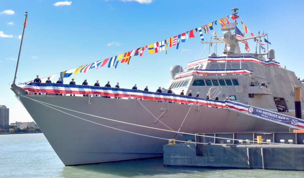 The future Freedom-variant littoral combat ship USS Detroit (LCS-7) is pierside on Detroit's waterfront in preparation for its commissioning on October 22, 2016. LCS-7 is the sixth U.S. ship named in honor of city of Detroit (U.S. Navy photo courtesy of Lockheed Martin/Released)