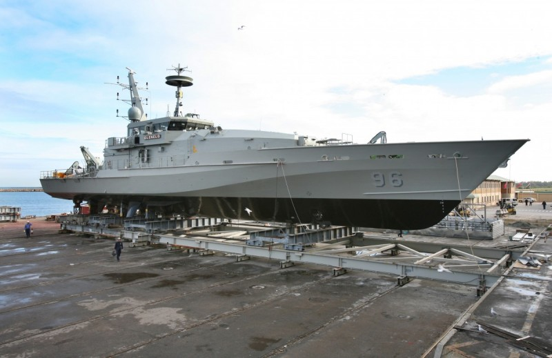 HMAS Glenelg prior to launch from the Austal shipyard in Henderson, Western Australia 2007 (Picture: Austal)