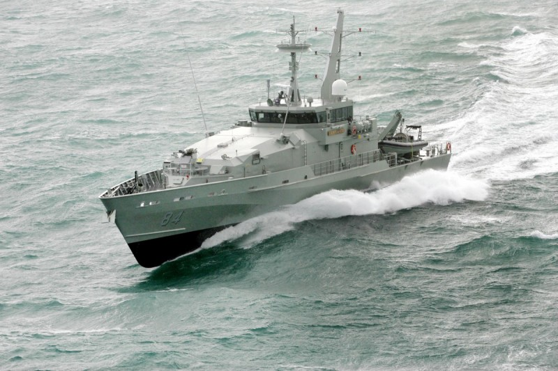 HMAS Larrakia during sea trials off Henderson, Western Australia, 2005 (Picture: Austal)