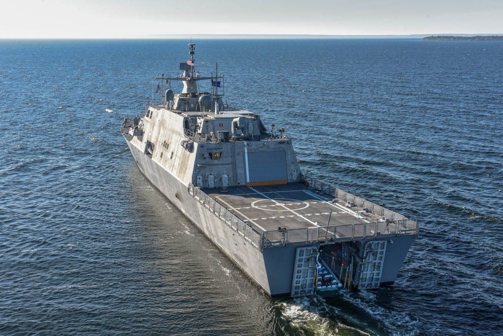 The future USS Detroit (LCS-7) conducts acceptance trials. Acceptance trials were the last significant milestone before delivery of the ship to the Navy (U.S. Navy Photo courtesy of Lockheed Martin-Michael Rote/Released)