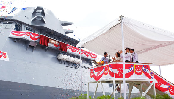 The third Littoral Mission Vessel on order for the Republic of Singapore Navy, Unity, at its launch ceremony on 13 October 2016