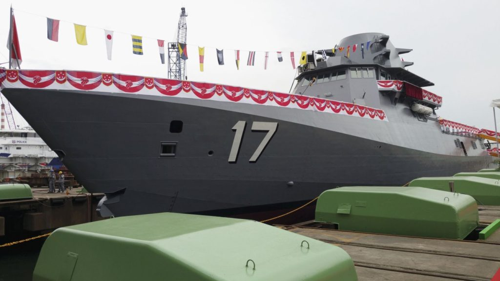 The launching of the third Littoral Mission Vessel – Unity, built by ST Marine for the Republic of Singapore Navy