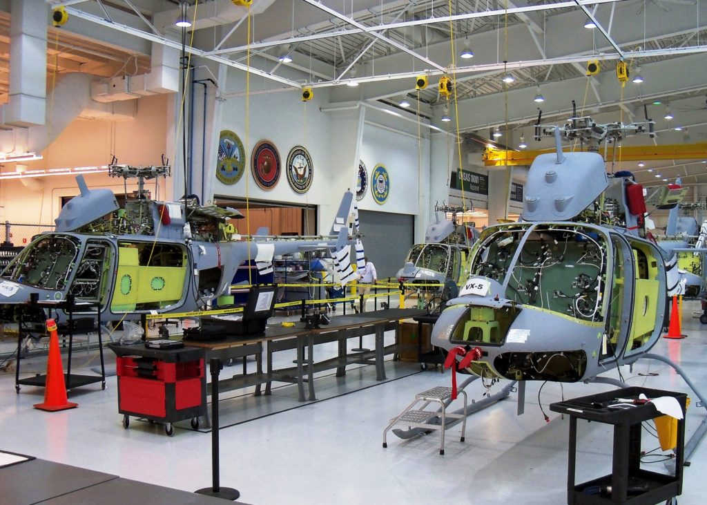 MQ-8C Fire Scout's on the assembly line at Northrop Grumman's Manufacturing Center in Moss Point, Mississippi (Photo by Northrop Grumman)