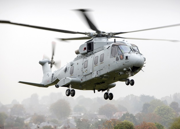 The Leonardo Merlin Mk4 helicopter, modified as an assault transport for Britain's Royal Marines, made its maiden flight last week. A total of 25 Merlin Mk3s will be modified to this new standard, and all should be delivered by late 2020 (RN photo)