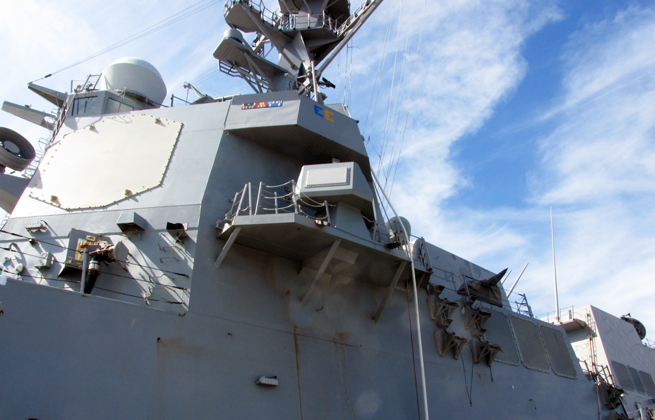 A SEWIP Block 2 system is shown here after being installed on the USS Bainbridge (DDG-96) guided-missile destroyer in 2014