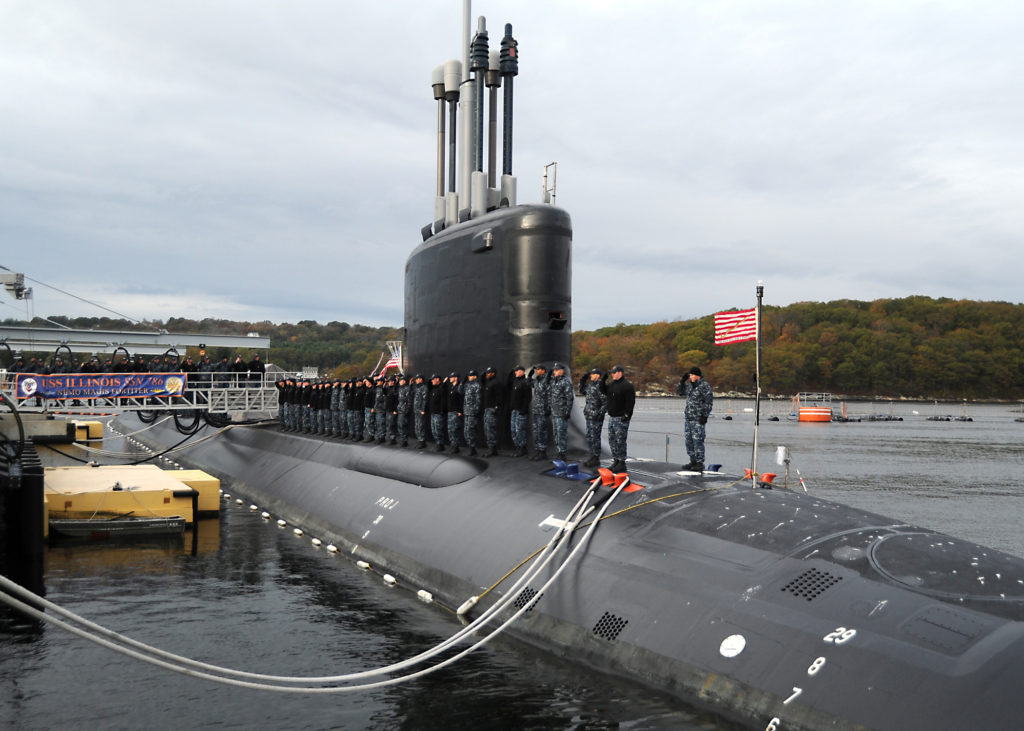 Sailors assigned to the Virginia-class attack submarine Pre-Commissioning Unit (PCU) Illinois (SSN-786) salute after bringing the ship to life during a rehearsal for the submarine's upcoming commissioning ceremony scheduled for October 29. Illinois is the U.S. Navy's 13th Virginia-Class attack submarine and the fourth U.S. Navy ship named for the state of Illinois (U.S. Navy photo by Chief Petty Officer Darryl I. Wood)
