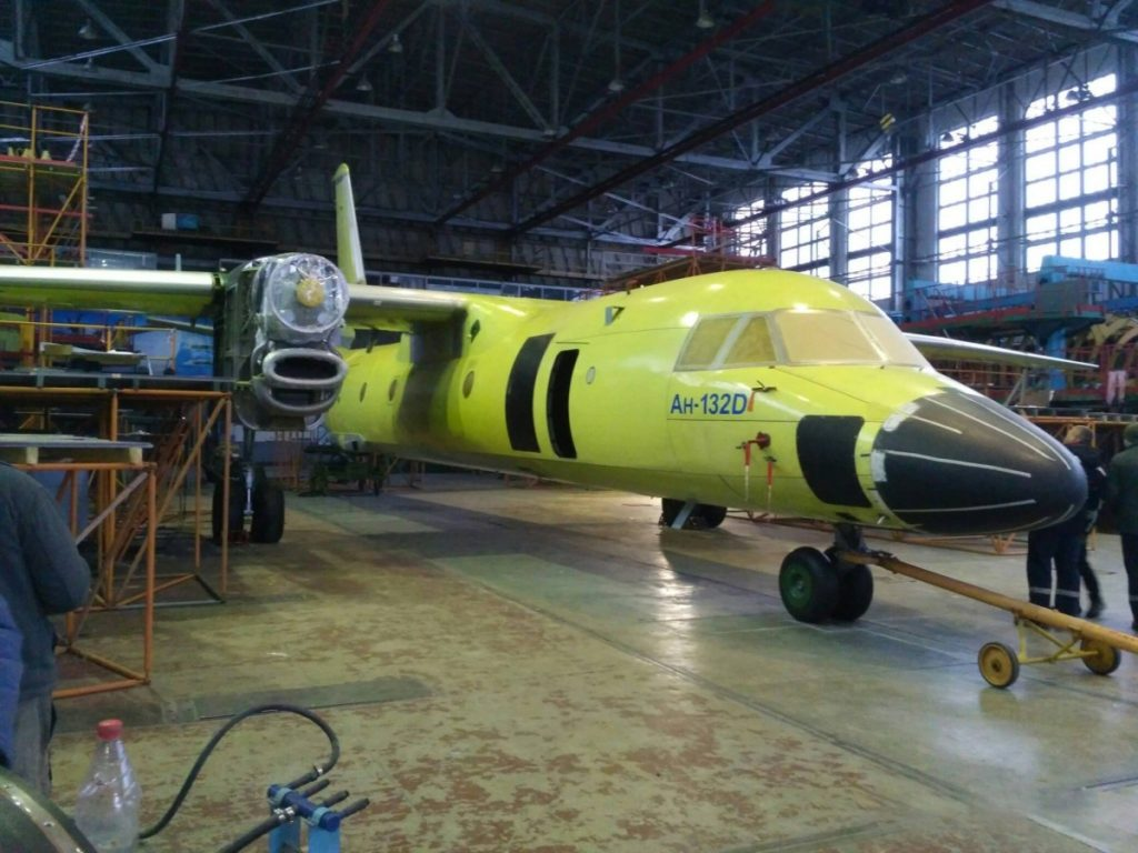 The first An-132D twin turboprop transport aircraft on the Antonov final assembly line (Antonov photo)