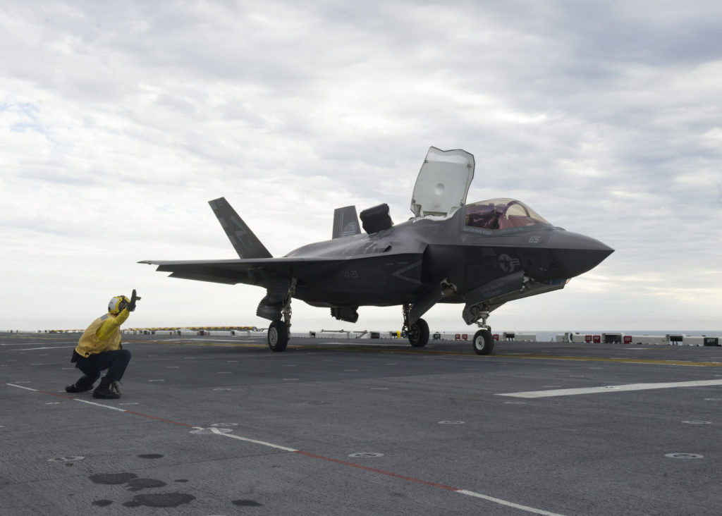 An F-35B Lightning II aircraft launches for the first time off the flight deck of amphibious assault ship USS America (LHA-6) (U.S. Navy photo by Petty Officer 1st Class Benjamin Wooddy/Released)