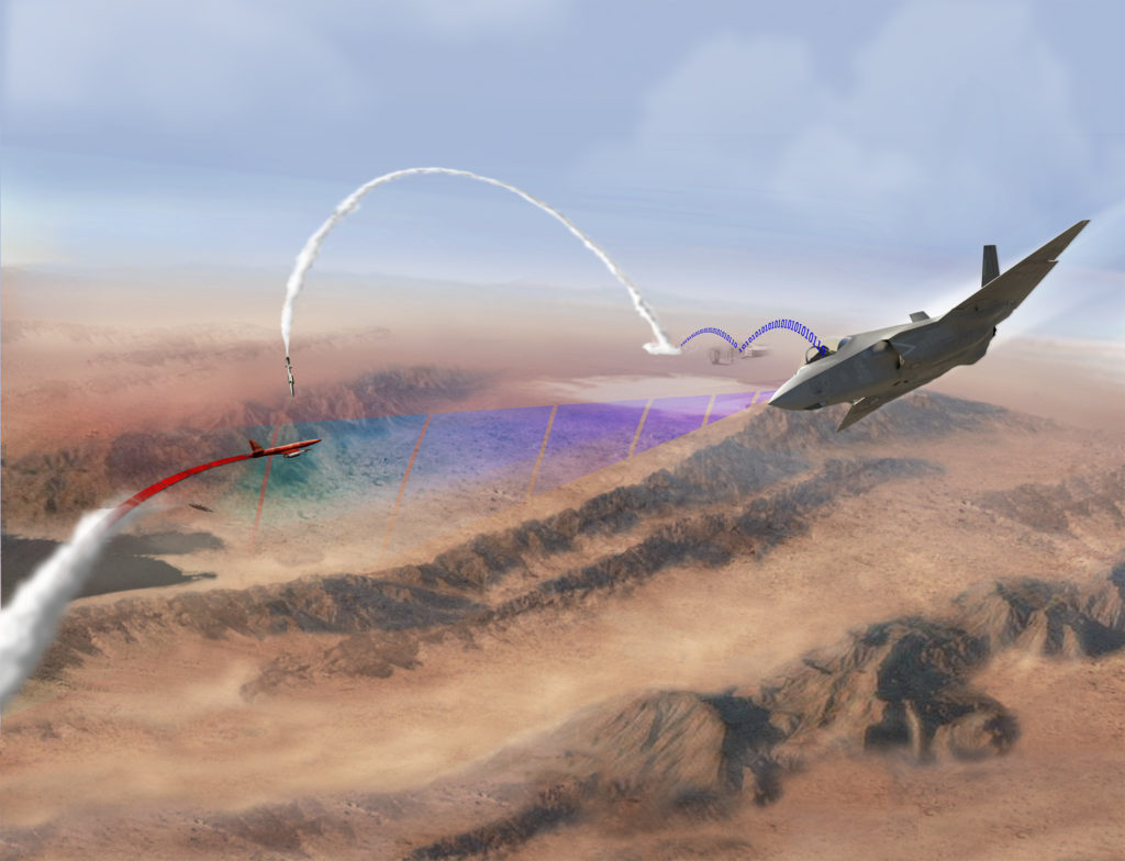 This graphic illustration depicts the U.S. Navy's first live fire demonstration to successfully test the integration of the F-35 with existing Naval Integrated Fire Control-Counter Air (NIFC-CA) architecture. During the test at White Sands Missile Range, New Mexico, September 12, an unmodified U.S. Marine Corps F-35B acted as an elevated sensor to detect an over-the-horizon threat. The aircraft then sent data through its Multi-Function Advanced Data Link to a ground station connected to USS Desert Ship (LLS-1), a land-based launch facility designed to simulate a ship at sea. Using the latest Aegis Weapon System Baseline 9.C1 and a Standard Missile 6, the system successfully detected and engaged the target (U.S. Navy graphic illustration courtesy of Lockheed Martin/Released)
