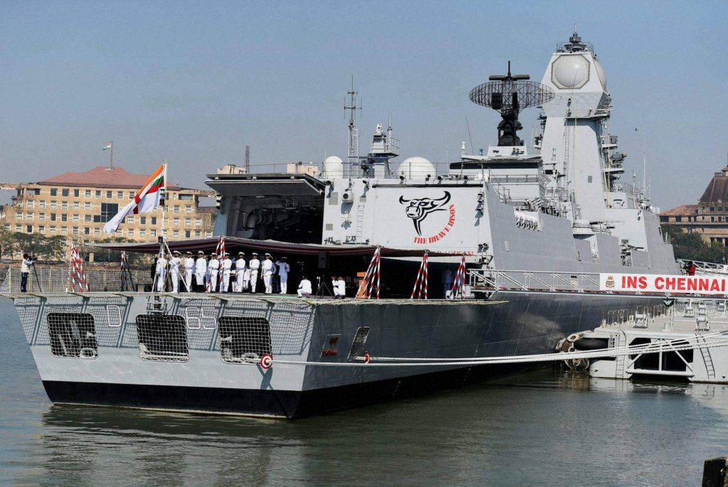 INS Chennai (D65) has an overall length of 535 feet/163 m and displacement of over 7,500 tons